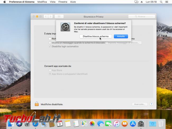 macOS High Sierra: come impedire/disattivare blocco automatico (richiesta password) quando Mac non viene usato (inattività) - VirtualBox_macOS_09_10_2017_14_18_46