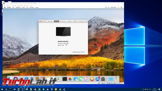 macOS VM VirtualBox PC Windows: come alzare risoluzione video ed entrare fullscreen (full HD, 1080p) senza bande nere