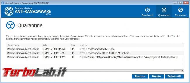 Malwarebytes anti-ransomware vi protegge virus ransomware cryptolocker