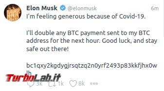 Mandami bitcoin li raddoppierò: offerte truffaldine account Twitter violati - elonmusk2020-07-15 22-23-26