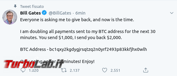Mandami bitcoin li raddoppierò: offerte truffaldine account Twitter violati - gates2020-07-15 22-41-30