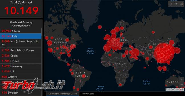 Mappa interattiva contagi: Italia è seconda classifica dopo Cina - FrShot_1583936414