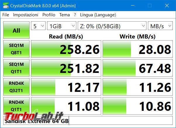 Memoria esterna Samsung SSD T7: Recensione, prova pratica, test velocità (disco SSD esterno USB PC smartphone Android) - CrystalDiskMark Sandisk Extreme 64 GB (2)