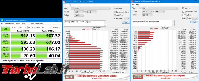 Memoria esterna Samsung SSD T7: Recensione, prova pratica, test velocità (disco SSD esterno USB PC smartphone Android) - Samsung Portable SSD T7 exFAT (originale)