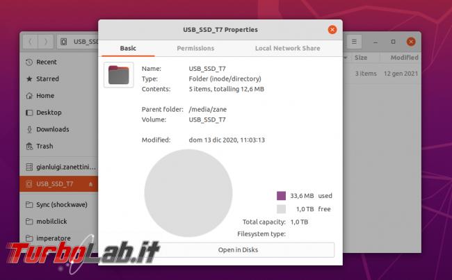 Memoria esterna Samsung SSD T7: Recensione, prova pratica, test velocità (disco SSD esterno USB PC smartphone Android) - samsung t7 ubuntu