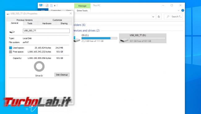 Memoria esterna Samsung SSD T7: Recensione, prova pratica, test velocità (disco SSD esterno USB PC smartphone Android) - screen_xps_1607850030