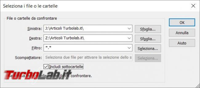 Metti confronto, trova differenze, due file testo due cartelle WinMerge