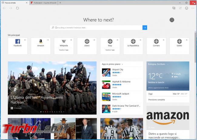 Microsoft Edge: guida novità browser Windows 10 - Microsoft edge new tab