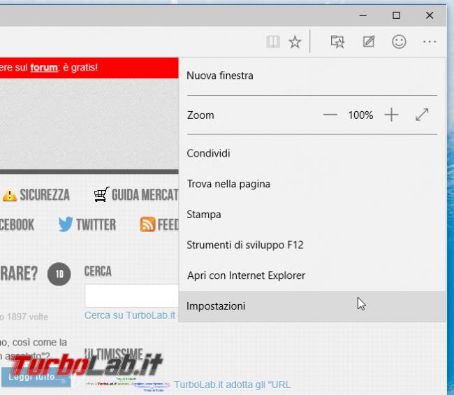 Microsoft Edge: guida novità browser Windows 10 - project spartan 02 impostazioni