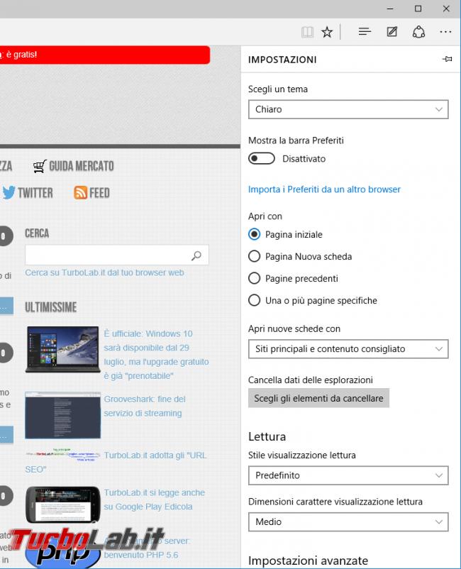 Microsoft Edge: guida novità browser Windows 10 - project spartan 03 opzioni