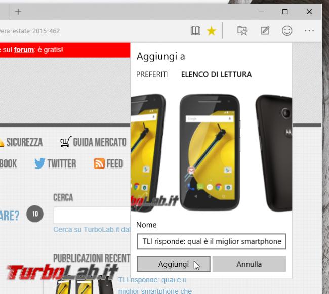 Microsoft Edge: guida novità browser Windows 10 - project spartan 06 aggiungi elenco lettura