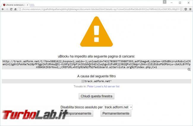 miglior alternativa Adblock Chrome/Firefox: uBlock Origin blocca pubblicità... consumando poca memoria