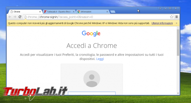miglior browser Windows XP: quali alternative Google Chrome? - chrome 49 windows xp fine supporto (2)