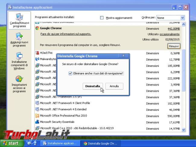 miglior browser Windows XP: quali alternative Google Chrome? - disinstalla chrome per windows xp