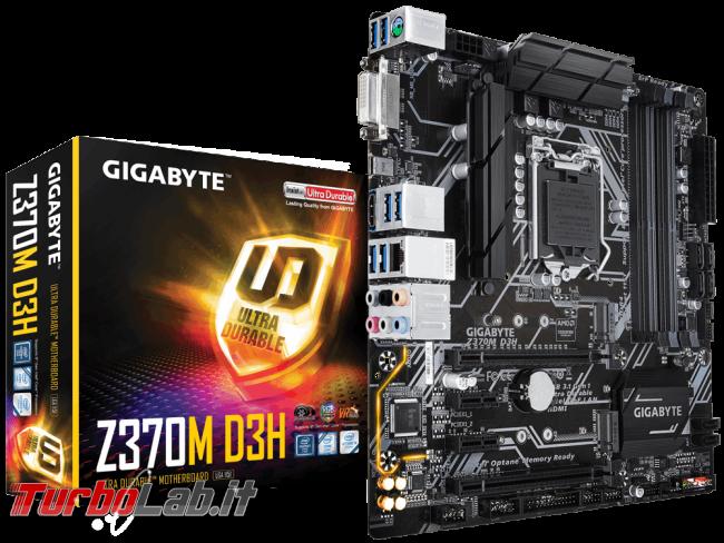miglior PC fisso posso assemblare: guida mercato scelta CPU, MoBo, RAM, SSD, case - edizione Coffee Lake, estate 2018 - scheda madre mobo Gigabyte Z370M D3H