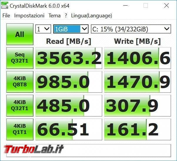 miglior SSD NVMe M.2 PCIe posso comprare massima velocità PC / notebook (estate 2018) - benchmark samsung 970 evo nvme m2