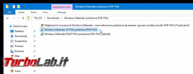 Migliorare sicurezza Windows Defender: come attivare protezione adware, spyware, toolbar ed altri PUP/PUA - windows defender protezione pup-pua