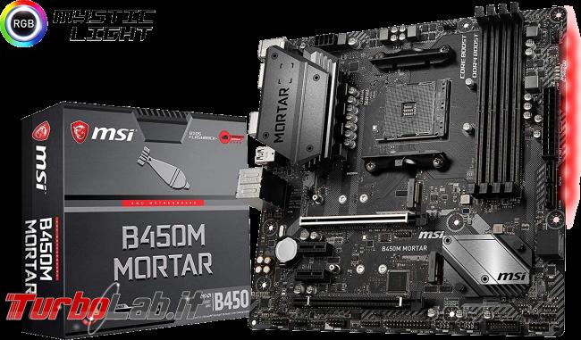 migliore PC fisso 2019: guida scelta CPU, GPU, scheda madre, RAM, SSD, case - scheda madre MSI B450M MORTAR box