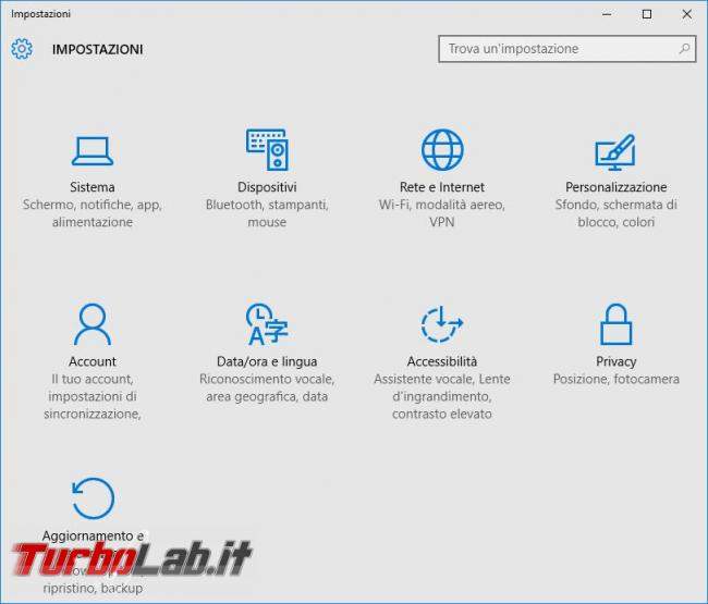 Modificare, disabilitare, popup d'avviso Windows 10