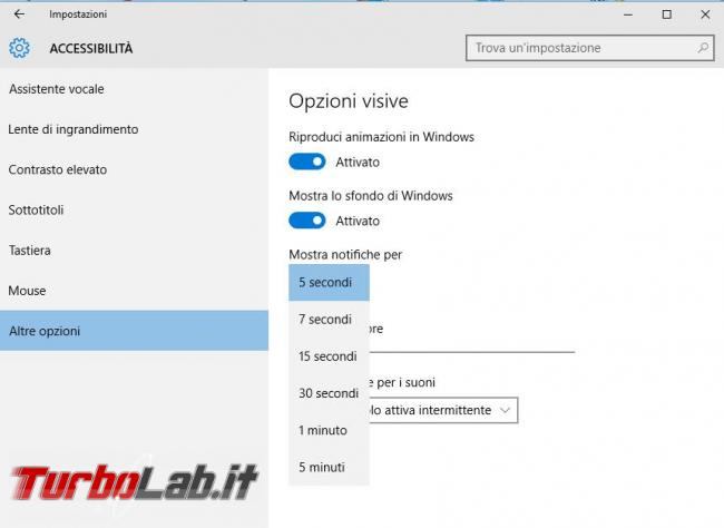 Modificare, disabilitare, popup d'avviso Windows 10