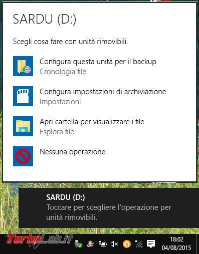 Modificare impostazioni dell'autoplay unità rimovibili Windows 10