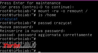 Modificare password dimenticata utente Ubuntu