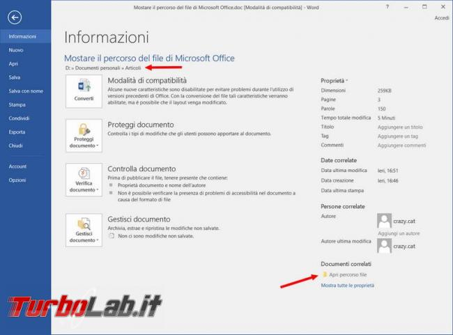 Mostrare stampare percorso file Microsoft Office