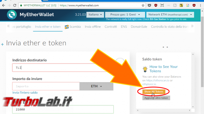MyEtherWallet, Load all tokens: come caricare/mostrare TUTTI token colpo solo (video) - spotlight MyEtherWallet load all tokens