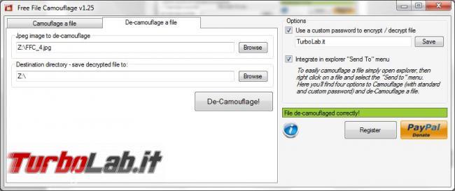 Nascondi messaggi segreti 'immagine Free File Camouflage