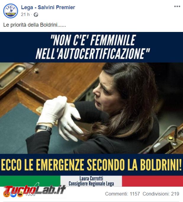 Non c'è femminile autocertificazione: semi-bufala Laura Boldrini - FrShot_1585904355