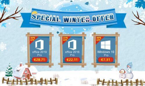 Offerta speciale invernale U2KEY: Windows 10 Pro soli 7,31 € Office 2016 Pro soli 22,11 €