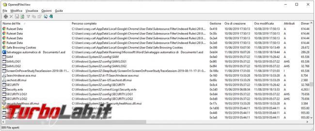 OpenedFilesView mostra quali file sono aperti programma li utilizza