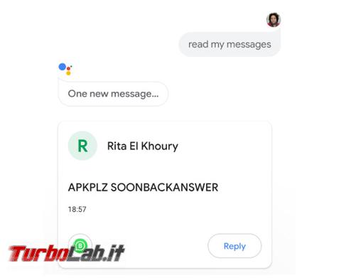Ora Google Assistant legge messaggi Telegram WhatsApp ( solo inglese) - Annotazione 2019-08-05 152115