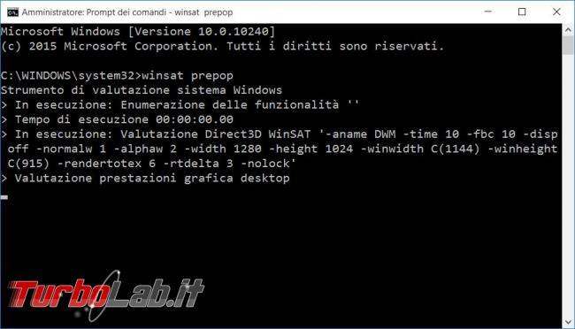 Ottenere l'indice prestazioni computer Windows 10