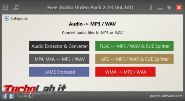 Pazera Free Audio Video Pack suite programmi conversione audio video