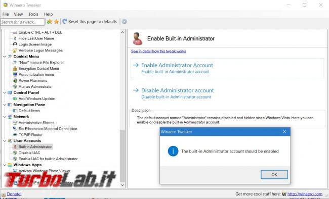 Personalizza fondo Windows 10 ( non solo) Winaero Tweaker