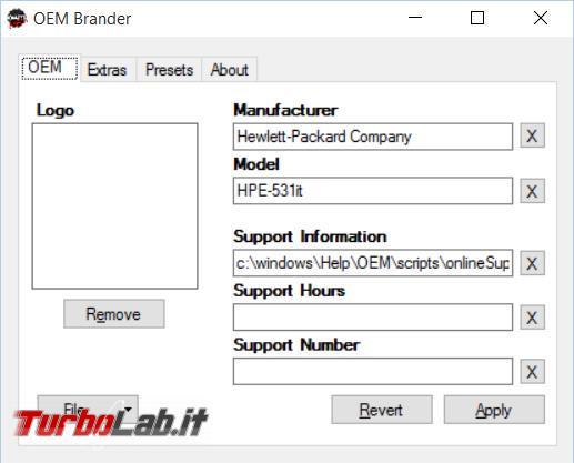 Personalizzare informazioni base relative computer