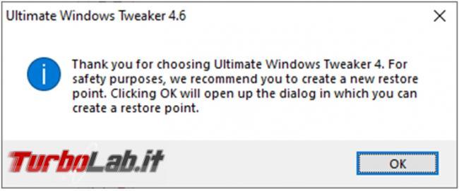 Personalizzazione completa Windows 10: guida Ultimate Windows Tweaker
