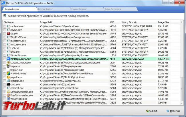 PhrozenSoft VirusTotal Uploader analizzatore file servizi Windows
