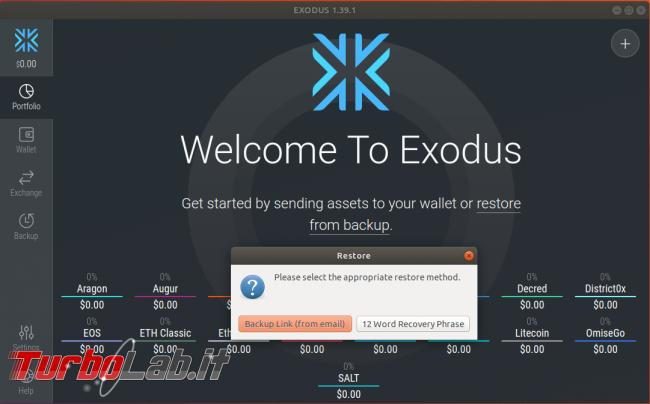 Portafogli criptovalute: guida Exodus, wallet offline multi-valuta