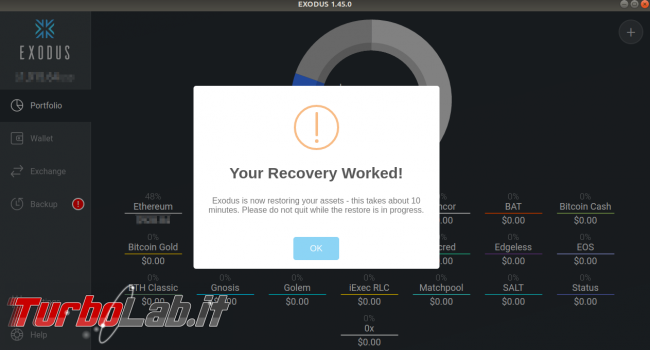 Portafogli criptovalute: guida Exodus, wallet offline multi-valuta - exodus recovery worked