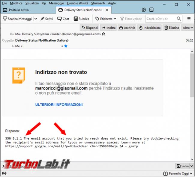 principali messaggi d'errore quando spedite email