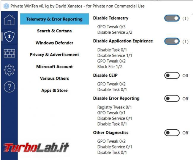 Private WinTen gestisce, migliora aumenta privacy Windows 10