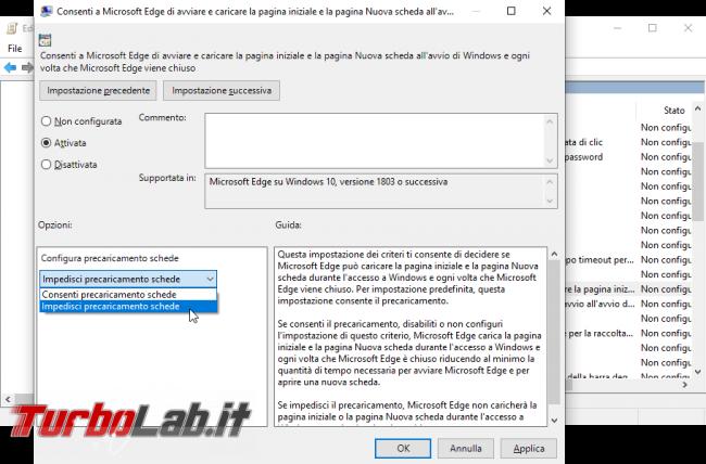 Processi MicrosoftEdge.exe MicrosoftEdgeCP.exe: come impedire, bloccare, disabilitare esecuzione automatica Microsoft Edge boot Windows 10 (AllowPrelaunch, AllowTabPreloading) - Mobile_zShot_1534362604