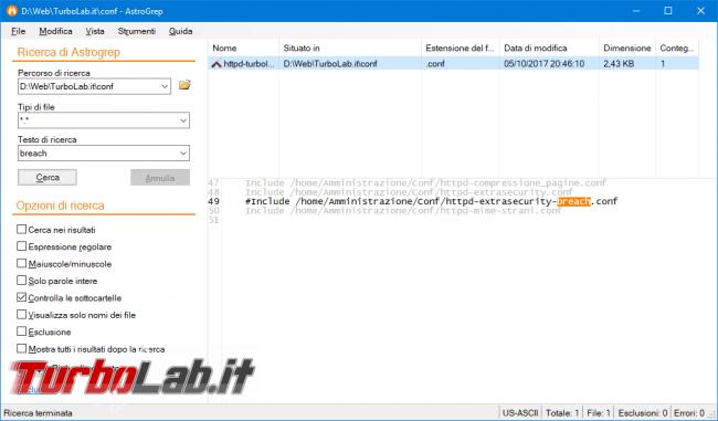 Programma Windows cercare interno file cartella: guida rapida AstroGrep