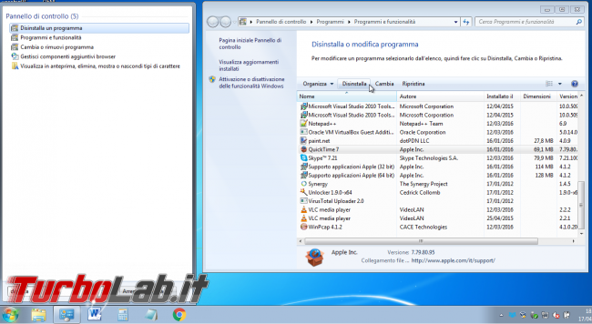 Promemoria: devi disinstallare QuickTime Windows (è pericoloso! fallo subito!) - distinstallazione quicktime