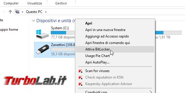 Proteggere password memoria/chiavetta USB, senza installare programmi aggiuntivi: guida BitLocker To Go Windows 10, Windows 8, Windows 7 - Proteggere chiavetta USB con password BitLocker To Go (1)