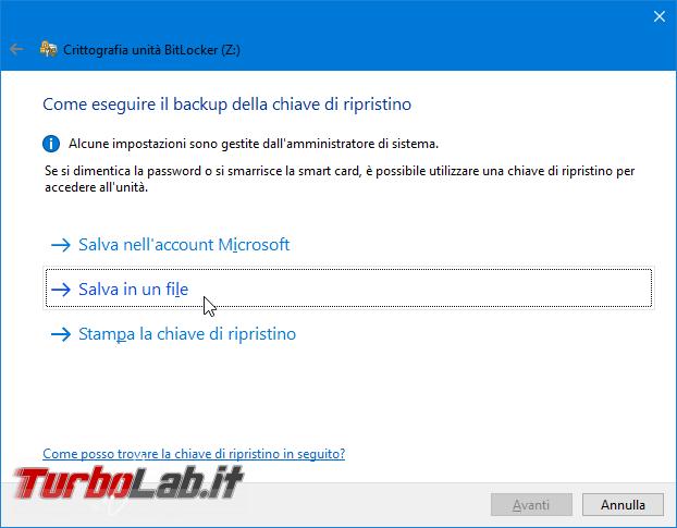 Proteggere password memoria/chiavetta USB, senza installare programmi aggiuntivi: guida BitLocker To Go Windows 10, Windows 8, Windows 7 - Proteggere chiavetta USB con password BitLocker To Go (3)