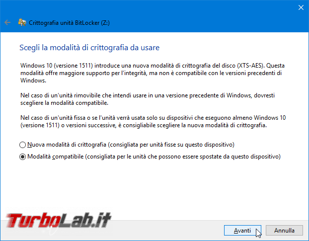 Proteggere password memoria/chiavetta USB, senza installare programmi aggiuntivi: guida BitLocker To Go Windows 10, Windows 8, Windows 7 - Proteggere chiavetta USB con password BitLocker To Go (6)