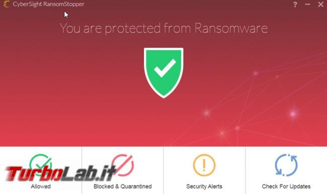 Protezione Ransomware: CyberSight RansomStopper impedisce virus criptare file computer